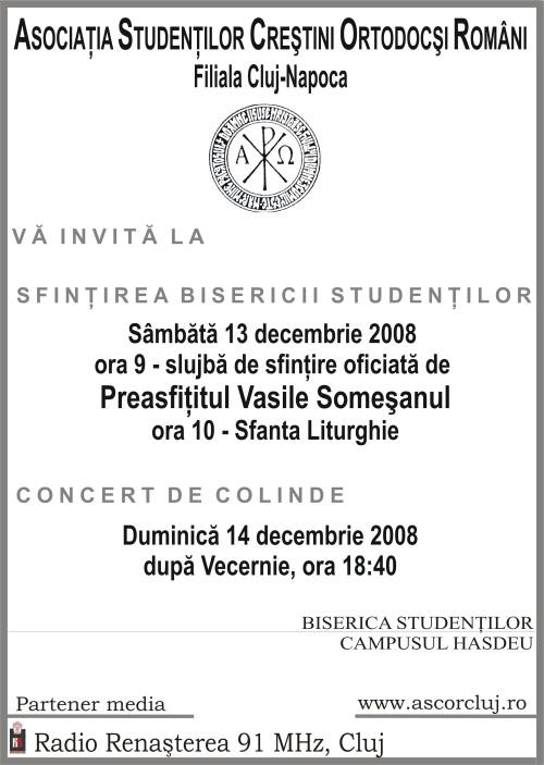 ASCOR Cluj, va invita la Sfintirea Bisericii si Concert de Colinde